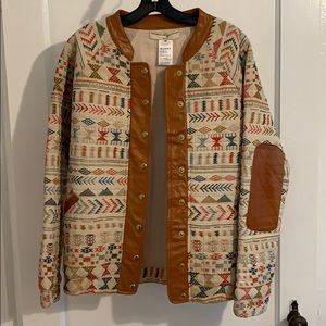 Anthropologie quilted geometric jacket-Size M